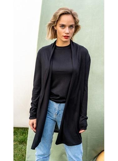 Silk and Cashmere İpek Karişimli Belinda Uzun Kollu Düğmesiz Hirka Siyah